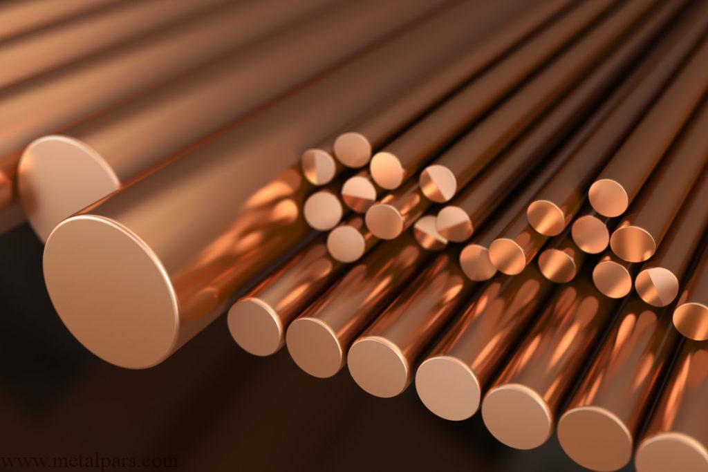 Copper metal, rods of copper. 3d illustration.